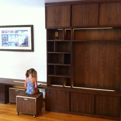 Walnut Built-in Cabinet. Illuminated LED lights in Bench seat + Kid Box Garage.